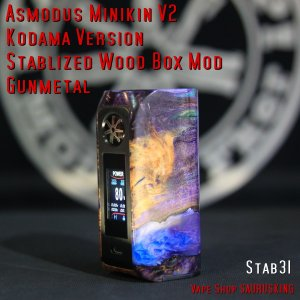 Asmodus Minikin V2 Kodama Version Stablized Wood Box Mod 31 / アスモダス ミニキン2 コダマ スタビライズドウッド*正規品*VAPE BOX MOD|saurusking