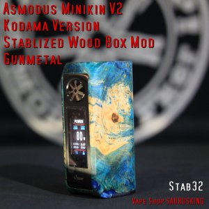 Asmodus Minikin V2 Kodama Version Stablized Wood Box Mod 32 / アスモダス ミニキン2 コダマ スタビライズドウッド*正規品*VAPE BOX MOD|saurusking