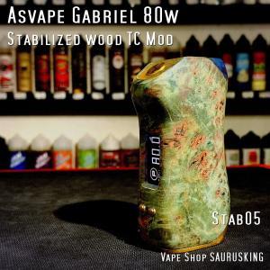 Asvape Gabriel 80w Color:05 Stabilized wood TC Box Mod / アスベイプ ガブリエル スタビライズドウッド*正規品*VAPE BOX MOD saurusking