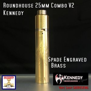 Kennedy Roundhouse Spade Brass 25mm Combo V2 / ケネディ*正規品*VAPE RDA + Mechanical Tube MOD|saurusking
