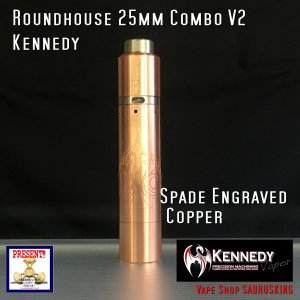Kennedy Roundhouse Spade Copper 25mm Combo V2 / ケネディ*正規品*VAPE RDA + Mechanical Tube MOD|saurusking