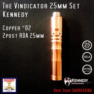 Kennedy The Vindicator 25mm Mod RDA Set Copper #02/ ケネディ*正規品*VAPE Mechanical Tube MOD|saurusking