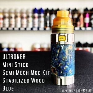 ULTRONER Mini Stick Semi Mech Mod Kit [blue] Stabilized Wood / ウルトロナー スタビライズドウッド *正規品* VAPE|saurusking