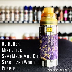 ULTRONER Mini Stick Semi Mech Mod Kit [Purple] Stabilized Wood / ウルトロナー スタビライズドウッド *正規品* VAPE saurusking
