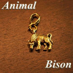 アニマル ペンダントTOP バイソン col.Gold 動物/アメリカ/animal/野牛/ばいそん/肉食草食/ネックレス|savanna-tokyo