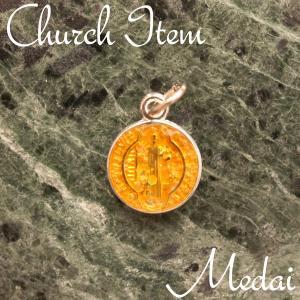 聖ベネディクトの勲章-クロス-メダイ ペンダントTOP col.OrangeLame ペンダント ネックレス チャーム 教会 925 指輪 ヴィンテージ|savanna-tokyo