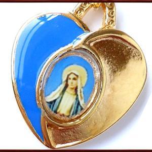 BERNARD 無原罪の聖母マリアハート型メダイ col.Blue  ペンダント ネックレス チャーム 教会 925 指輪 ヴィンテージ|savanna-tokyo|02