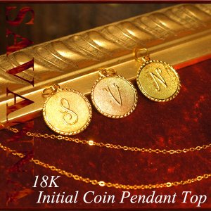 K18イニシャルコイン ペンダントTOP 18金 ネックレス 18k チャーム ハワイアンジュエリー ゴールド yメンズ コイン|savanna-tokyo