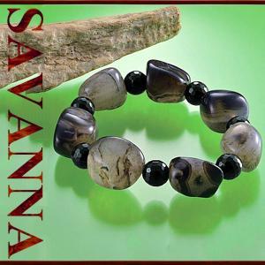アゲート・オニキスMIXブレスレット 天然石PowerStone ブレスレット 粒売り ビーズ ピアス ネックレス 連売り|savanna-tokyo