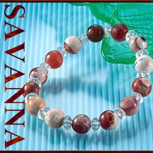 ファイアーアゲート・水晶MIXブレスレット 天然石PowerStone ブレスレット 粒売り ビーズ ピアス ネックレス 連売り|savanna-tokyo