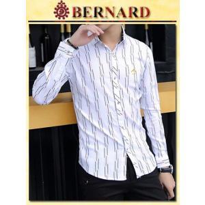 マルチストライプデザインシャツ col.White BERNARD savanna-tokyo
