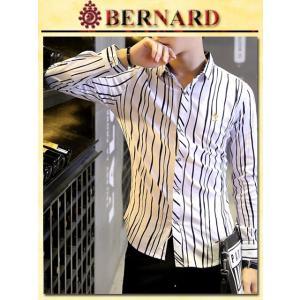 Mixストライプデザインシャツ col.White BERNARD savanna-tokyo