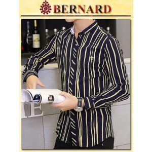 Mixストライプデザインシャツ col.Navy BERNARD savanna-tokyo