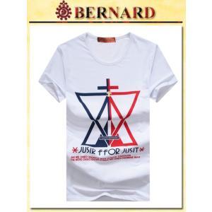 クロストライアングルデザインTシャツ col.White BERNARD savanna-tokyo