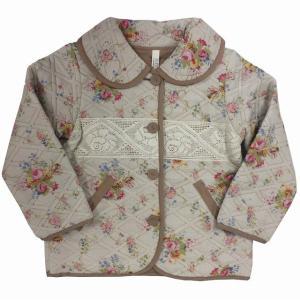 【値下げ】女児中綿キルトジャケット 120cm 前ボタン 花柄 レース 【秋冬】 sawadaya-net