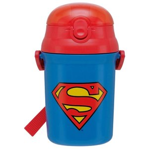 水筒 スーパーマン プッシュオープン式 シリコン ストローボトル スケーター sawagift