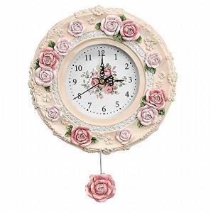 レジン製 振り子時計 ローズ ピンク 24×34cm あまの BTC-1380|sawagift