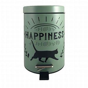 猫モチーフのペダル式ダストボックス「HAPPINESS」  シンプルな猫がかわいいダストボックス 猫...
