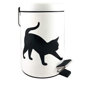 猫モチーフのペダル式ダストボックス「ネコ ホワイト」  シンプルな猫がかわいいダストボックス モノト...
