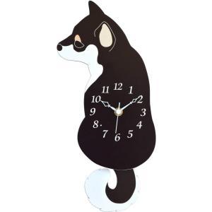 柴犬 振り子時計 うしろ向き 黒|sawagift