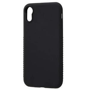 iPhone XR用 シリコンケース シルキータッチ グリップ付 ブラック|sawagift
