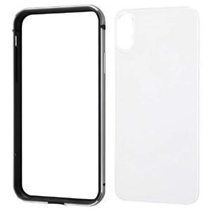 iPhoneXR 6.1インチ 専用 ケース アルミバンパー 背面パネル クリア ブラック|sawagift
