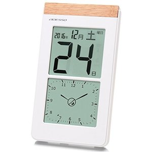アデッソ 壁掛け時計 デジタル日めくり 電波時計 アナログ式デジタル表示付き 置き掛け兼用 ホワイト K-8656|sawagift