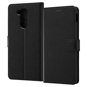 LG style2 ケース 手帳型 シンプル マグネット ブラック/ブラック スタンド|sawagift