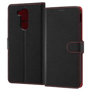 LG style2 ケース 手帳型 シンプル マグネット ブラック/レッド スタンド|sawagift