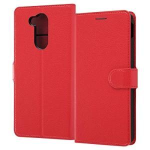 LG style2 ケース 手帳型 シンプル マグネット レッド スタンド|sawagift