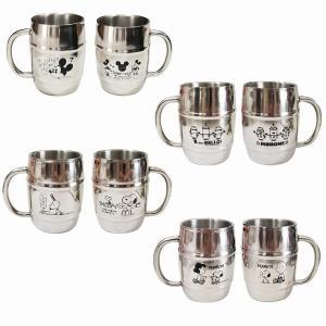 マグカップ ステンレス 樽型 選べる4種 ダブルウォール構造 かわいい ミッキー ミニー スヌーピー...