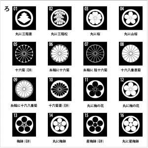 着物用家紋シール 貼り付け紋 貼り紋 貼紋 「ろ」16種類 (全224種類×2色)