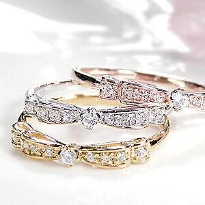 K10YG/WG/PG 0.1ct りぼん モチーフリング 指輪 ダイヤ リング イエローゴールド ...