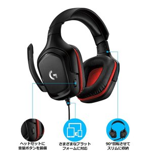 Logicool G ゲーミングヘッドセット G331 ブラック/レッド 2.1ch ステレオ ノイズキャンセリング マイク 付き PC P|sazanamisp
