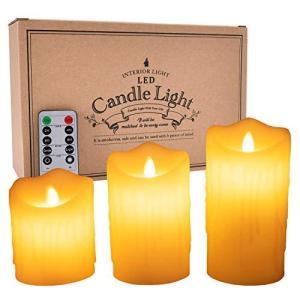 LEDキャンドルライト 本物蝋使用 3点セット ゆらゆら揺れる リモコン付き タイマー 明るさ調整付き 高級感 クリスマス パーティー 結婚|sazanamisp