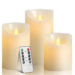 Yixintech LEDキャンドルライト 本物の炎のようにゆらめくLEDキャンドルライト リモコン付 本物蝋使用 3点セット ゆらゆら揺れ|sazanamisp