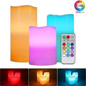 RGBフレームレスキャンドルライト、MAVIE 3パックマルチカラーリアルワックスティーライト電池式ピラーキャンドル電気LED点滅キャンドル|sazanamisp