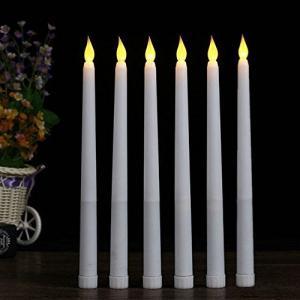 ARDUX 28cm LED炎の少ないテーパキャンドル、ホームディナーテーブルパーティーウェディング誕生日(6個セット)|sazanamisp