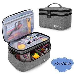 Luxja 裁縫バッグ 裁縫箱 大容量 バッグのみ 裁縫道具 収納 ソーイングボックス グレー sazanamisp