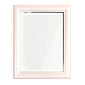 遺影 ピンク もも色 額縁 肖像額 葬儀用キャビネ判写真 透明ガラス ネクタイスタンド立て 2L版写真 sazanamisp