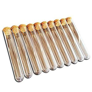 ノーブランド品コルク栓付 プラスチック製試験管 10cm×10本