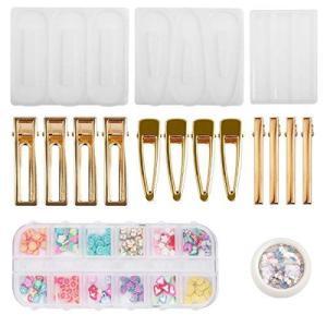 Sitengle シリコンモールド レジン型 ヘアクリップモールド 3種類 12個金具クリップ 封入パーツ付き エポキシ樹脂 ソフトモールド sazanamisp