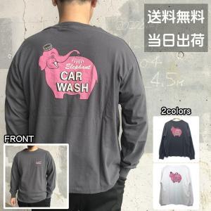 メンズ ロンT Tシャツ 長袖 ドロップダウン ゾウ バックプリント ロングスリーブ オーバーサイズ ビッグシルエット レディース|sb02