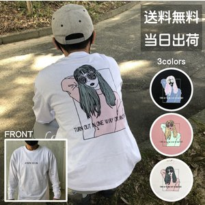 メンズ ロンT Tシャツ 長袖 レトロ 女の子 ビッグT プリント ロゴ ビッグシルエット オーバーサイズ トップス レディース|sb02