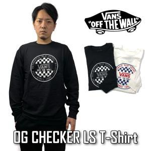 VANS バンズ メンズ ロンT Tシャツ 長袖 ヴァンズ M OG CHECKER LS VN0A49SZ ブラック ホワイト|sb02