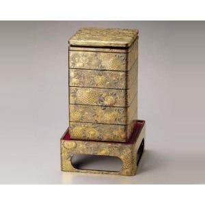 越前塗 沈金菊総彫り 8.5寸 台付き五段重箱 黒内朱