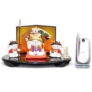 五月人形錦彩招き猫大将飾り 陶器で作ったニャンとも可愛い一品 D651