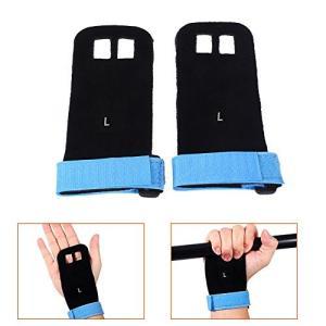 2本の体操ハンドグリップ人工皮革手袋スポーツ重量重量パームガードプロテクターグリーン/ブルー/レッド/ブラック(L-ブルー)|sb18shop
