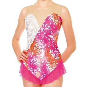ササキ(SASAKI) 新体操 スカート付きレオタード 7365S ピンク×ホワイト(PW) M|sb18shop