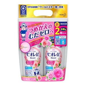 【2個パック】 花王 ビオレu エンジェルローズの香り つめかえ用 (340ml×2コ)|scbmitsuokun1972